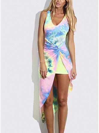 Print Sleeveless Sheath Asymmetrical Casual/Vacation Dresses