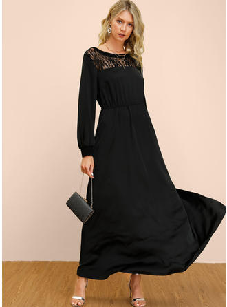 Dentelle/Couleur Unie Manches Longues Trapèze Maxi Petites Robes Noires/Fête/Élégante Robes