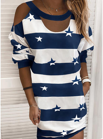 Print/Color Block/Striped Long Sleeves/Cold Shoulder Sleeve Shift Above Knee Casual Dresses