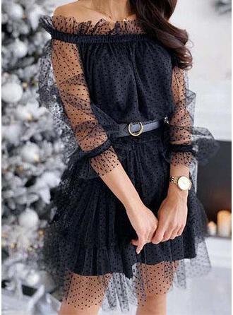 Solid/PolkaDot Long Sleeves A-line Above Knee Little Black/Elegant Skater Dresses
