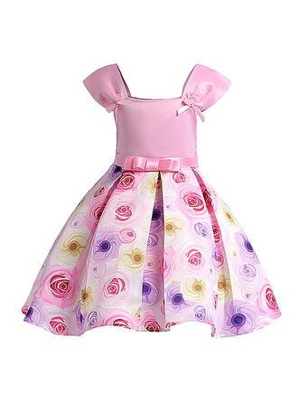Dziewczyny Kwadratowy Kołnierz Kwiatowy Kokarda Ładny Party Sukienka