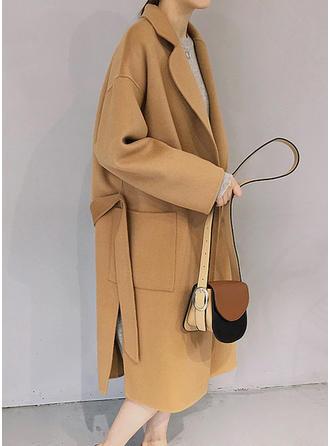 Mieszanki bawełniane Długie rękawy Jednolity kolor Wełna Płaszcze