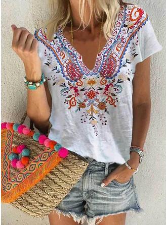 Blomstrete Trykk V-hals Kortermer T-skjorter