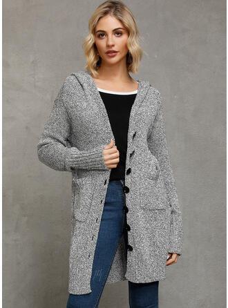 Solid Tykk strikket Hette Cardigan