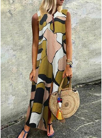 Print Sleeveless Shift Maxi Casual Dresses