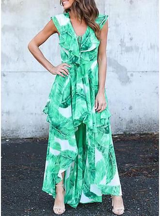 Print V-neck Asymmetrical A-line Dress