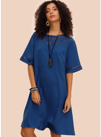 Lace/Solid 1/2 Sleeves Shift Knee Length Casual Dresses