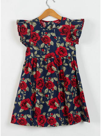 Girls Round Neck Floral Print Casual Dress