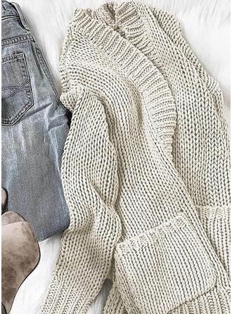 Solid Chunky knit Pocket Cardigan