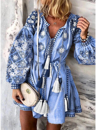 Print Long Sleeves/Lantern Sleeve A-line Above Knee Casual/Vacation Dresses