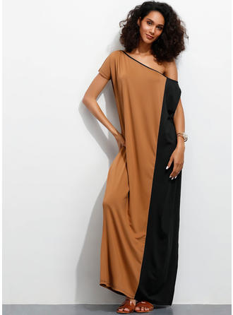 Color-block Cold Shoulder Sleeve Shift Maxi Casual Dresses