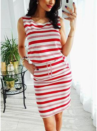 Striped Sleeveless Sheath Knee Length Casual Dresses