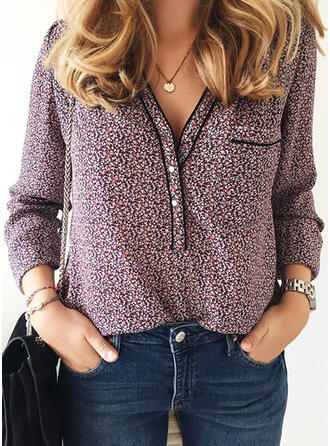 Print V-Neck Long Sleeves Button Up Casual Elegant Blouses