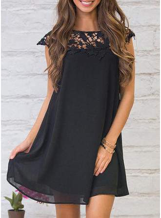 Lace Solid Hollow Round Neck Above Knee Shift Dress