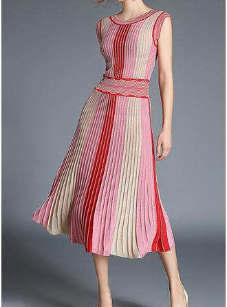 Striped V-neck Midi A-line Dress