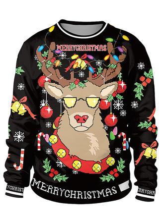 Unisex Polyester Spandex Print Reindeer Cartoon Christmas Sweatshirt
