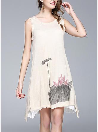 Print Floral Round Neck Asymmetrical Shift Dress