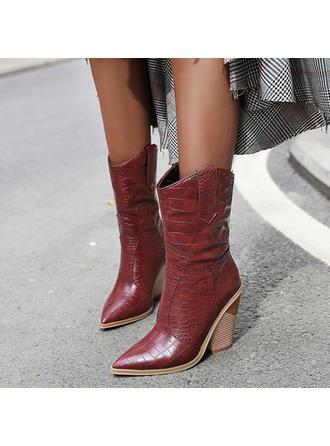 Femmes PU Talon bottier Bottes Bottes mi-mollets chaussures