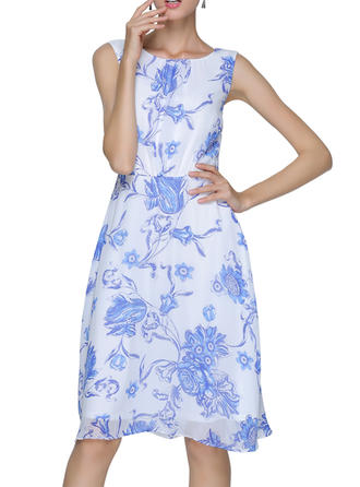 Print/Floral Sleeveless A-line Knee Length Casual/Elegant Dresses