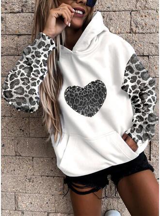 Leopard Perlebrodering Hjerte Lommer Lange ærmer Hoodie