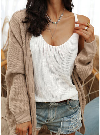 Solid Waffle Knit Cable-knit Pocket Casual Sweaters