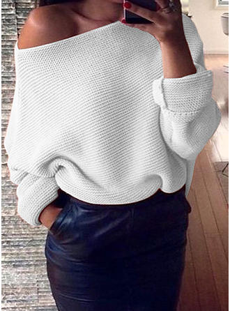 Bawełna Off the Shoulder Jednolity kolor Swetry