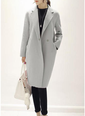Woolen Cotton Long Sleeves Plain Slim Fit Coats