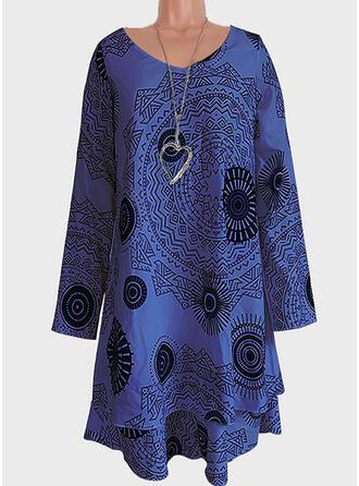 Print Long Sleeves Shift Asymmetrical Casual/Vacation Dresses