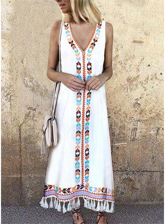 Print Sleeveless Shift Maxi Casual/Boho/Vacation Dresses