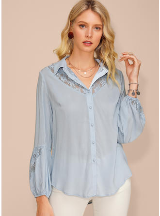 Solid Lace Lapel Long Sleeves Button Up Casual Elegant Shirt Blouses