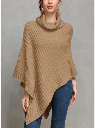 Solid Ribbed Chunky knit Cowl Neck Sweaters