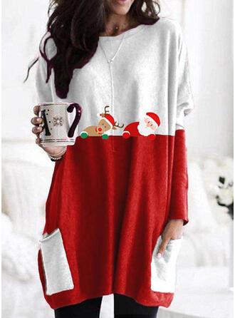 Color Block Dyr Lommer rund hals Lange ærmer Jule sweatshirt