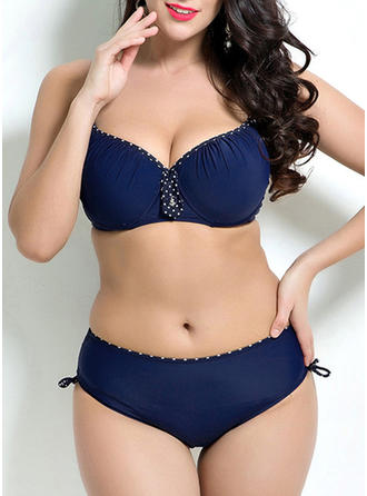 Solid Color Underwire Strap Sexy Plus Size Bikinis Swimsuits
