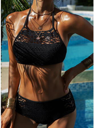 Hollow Out Mesh Lace Up Halter Strapless High Neck Sexy Elegant Classic Bikinis Swimsuits
