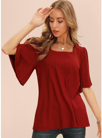 Solid Square Collar 1/2 Sleeves Casual Blouses