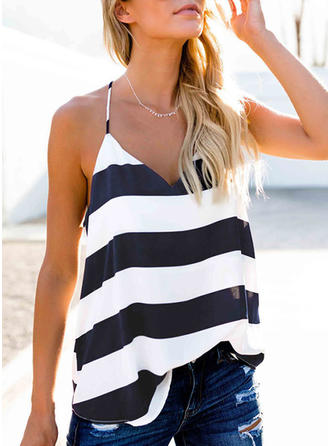 Striped Spaghetti Strap Sleeveless Casual Sexy Tank Tops
