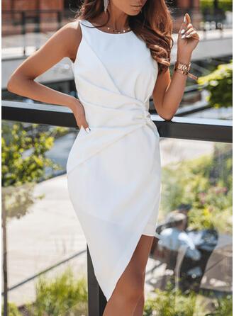 Couleur Unie Sans Manches Moulante Asymétrique Petites Robes Noires/Fête Robes