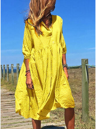 Solid 3/4 Sleeves Shift Casual/Vacation Midi Dresses