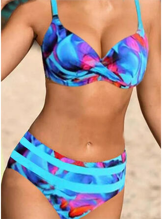 High Waist Print Push Up Strap V-Neck Sexy Boho Bikinis Swimsuits