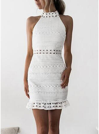 Lace Solid Stand collar Above Knee Sheath Dress