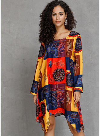 Print/Patchwork Long Sleeves Shift Asymmetrical Boho/Vacation Dresses