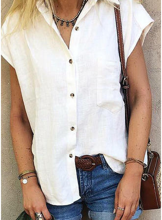 Solid Lapel Cap Sleeve Button Up Casual Knit Shirt Blouses