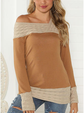 Color Block Cable-knit V neck Sweaters