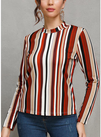 Striped Stand collar Long Sleeves Casual Blouses