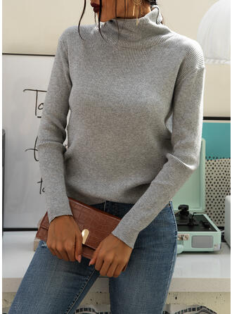 Solid Plain Turtleneck Casual Tight Sweaters