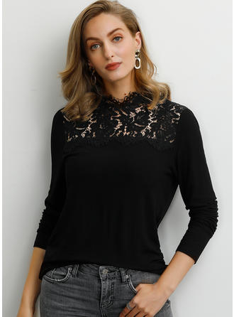 Solid Lace Stand-up Collar Long Sleeves Casual Blouses