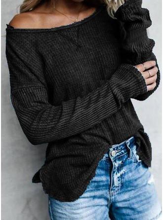 Sólido Cuello redondo Manga Larga Casual Tejido De Punto Blusas