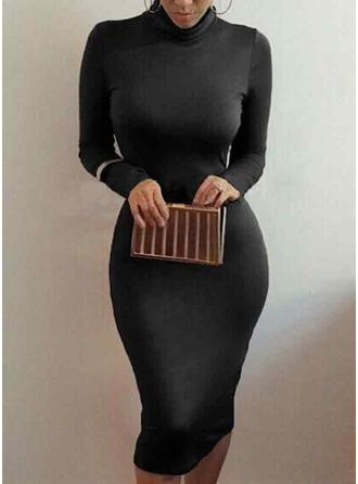 Solid 3/4 Sleeves Bodycon Midi Little Black/Casual/Party Dresses