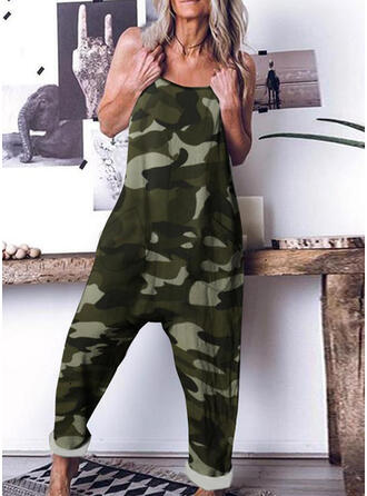 Camouflage Spaghetti Straps Sleeveless Casual Jumpsuit