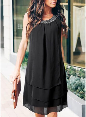 Patchwork Sleeveless Shift Knee Length Casual Dresses